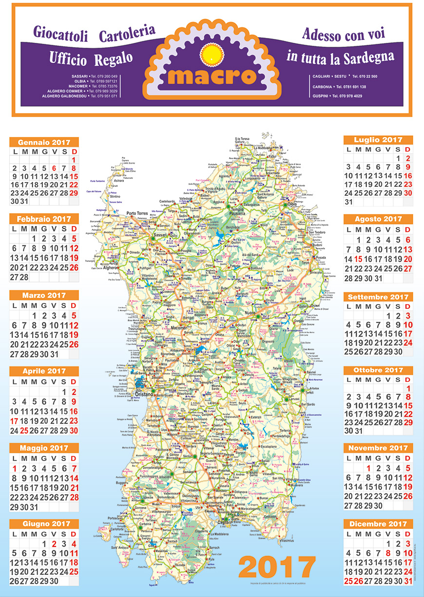 Cartina Sardegna 2017.Calendari Cartina Volantinaggio Sassari Sardegna Agenzia Pubblicitaria Demas Servic